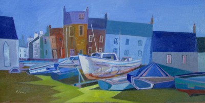 Scottish Artist Davy BROWN - Beached Boats, Isle of Whithorn
