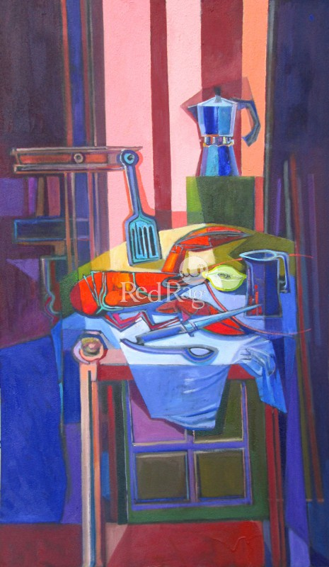 Davy BROWN - Still Life with Lobster and Coffee Pot