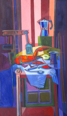 Scottish Artist Davy BROWN - Still Life with Lobster and Coffee Pot