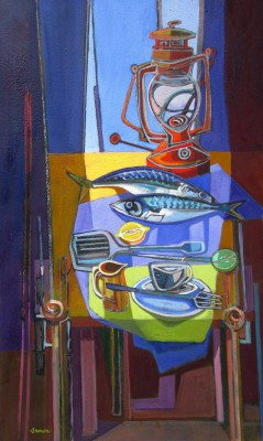 Scottish Artist Davy BROWN - Still Life with Mackerel
