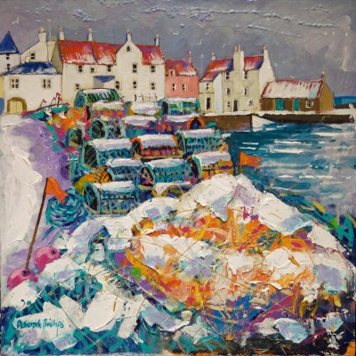 Deborah PHILLIPS - Snowy Nets and Creels, Pittenweem