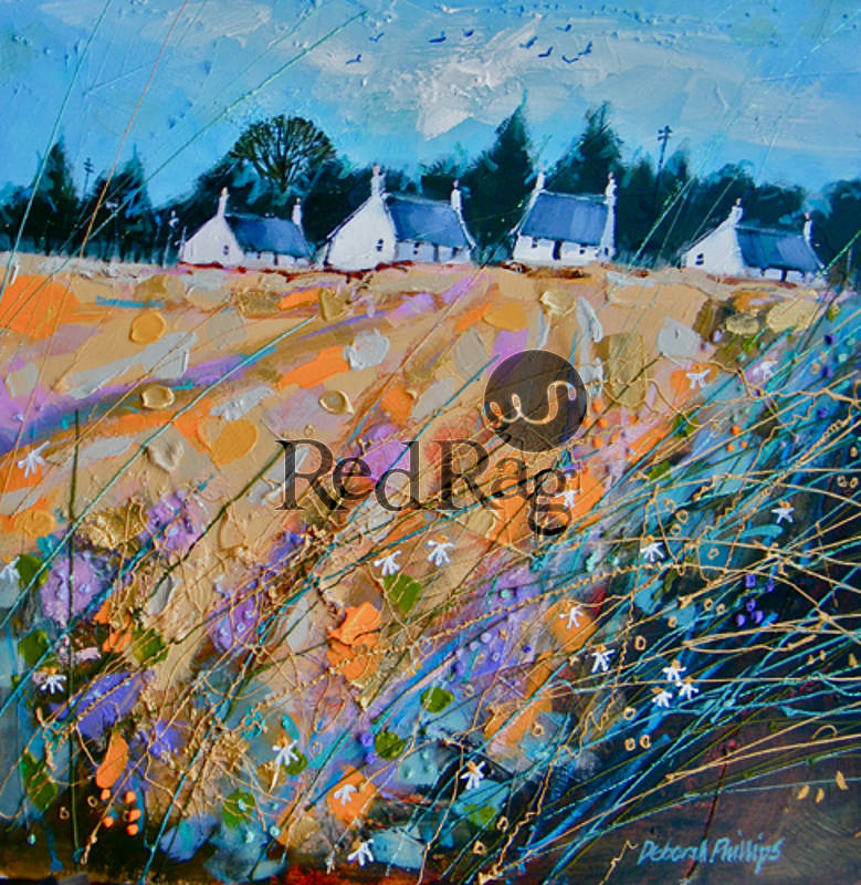 Scottish Art: Cottages At Kingston On Spey By Scottish Contemporary