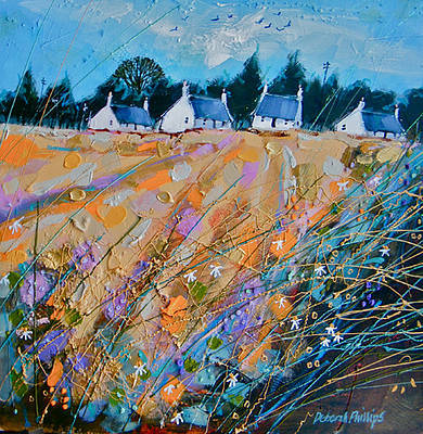 Scottish Artist Deborah PHILLIPS - Cottages at Kingston on Spey