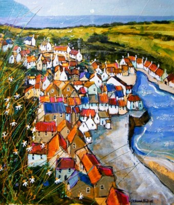 Red Roofs, Staithes  painting by artist Deborah PHILLIPS