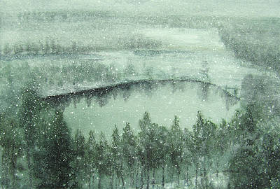 Scottish Artist Donald PROVAN - Winter Lochan Study