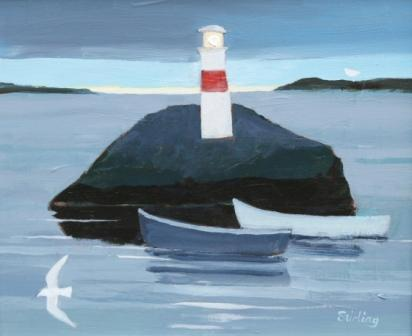 Scottish Artist Dorothy STIRLING - Night Mooring