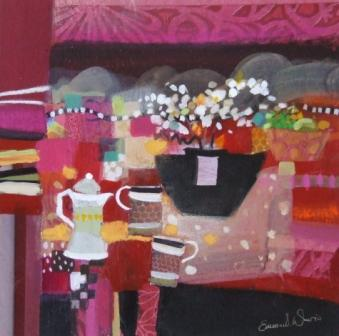 Scottish Artist Emma DAVIS - Orchids and Coffee Pot