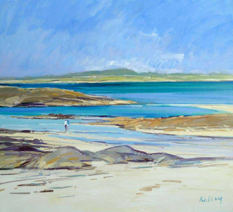 Scottish Artist Robert KELSEY - Figures on the Shore, Barra