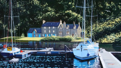 Scottish Artist Frank COLCLOUGH - Sunlight Bellanoch Moorings