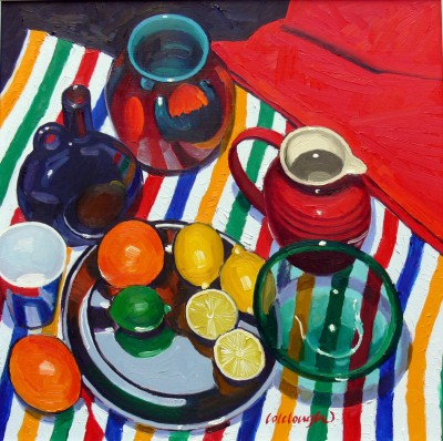 Scottish Artist Frank COLCLOUGH - Study on Striped Cloth