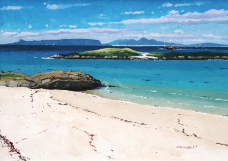 Scottish Artist Frank COLCLOUGH - Eigg & Rhum from Arisaig