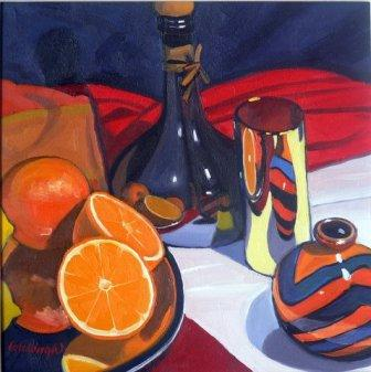 Scottish Artist Frank COLCLOUGH - Olive Oil Bottle and Fruit