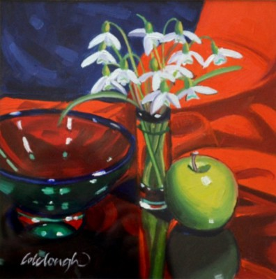 Scottish Artist Frank COLCLOUGH - Snowdrops and Green Apple