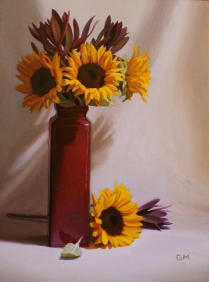 Scottish Artist Gary MORROW - Sunflowers and Leucadendron