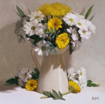 Scottish Artist Gary MORROW - White and Gold Bouquet
