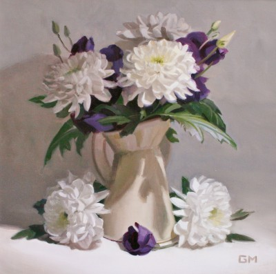 Scottish Artist Gary MORROW - Chrysanthemum and Lisianthus
