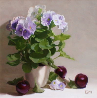 Scottish Artist Gary MORROW - Primula and Plums