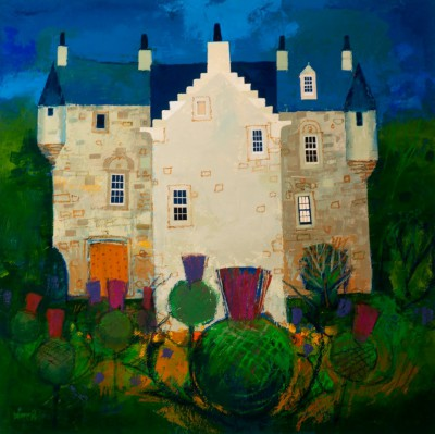 Scottish Artist George BIRRELL - Thistles and Castle