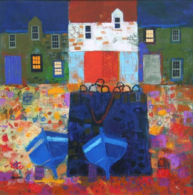 Scottish Artist George BIRRELL - Pier and Boats