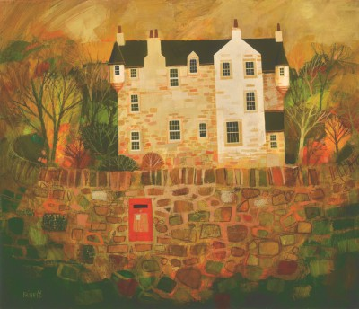 Scottish Artist George BIRRELL - Castle Wall and Post Box