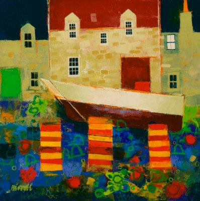 Fishboxes II painting by artist George BIRRELL