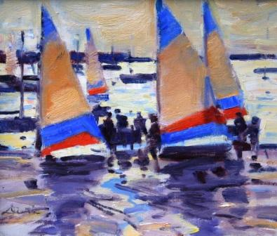Scottish Artist George DEVLIN - Sailing Club, North Berwick