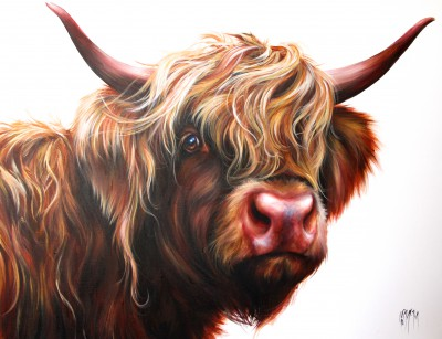 'Ruby - Highland Cow' painting by artist Georgina  McMASTER