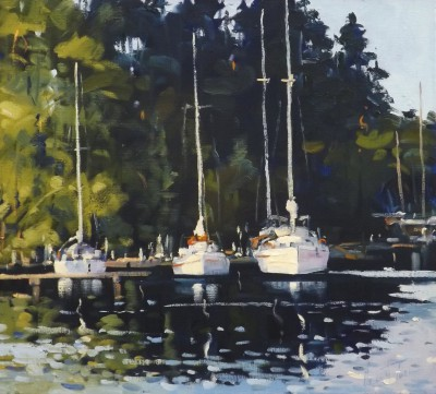 Scottish Artist Helen TURNER - Tall Masts Crinan