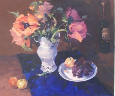 Scottish Artist Helen TURNER - Pink Poppies and Fruits