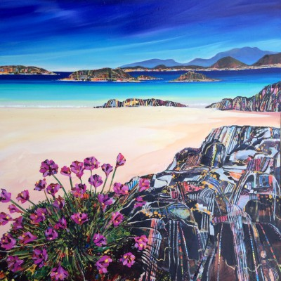 Sea Pinks Isle of Coll painting by artist Hope BLAMIRE