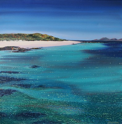 Sparkling Shoreline of Eoligarry, Barra painting by artist Hope BLAMIRE