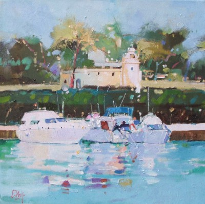 Boats in the Sun, Mallorca painting by artist Ian ELLIOT