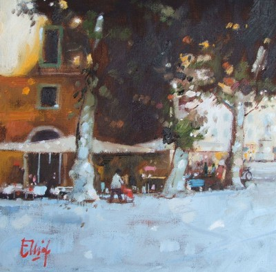 Scottish Artist Ian ELLIOT - Late Evening, Piazza Napoleone