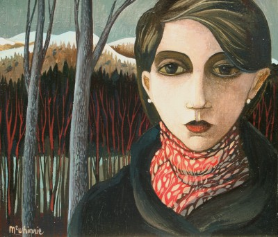 Scottish Artist Ian McWHINNIE - The Red Scarf