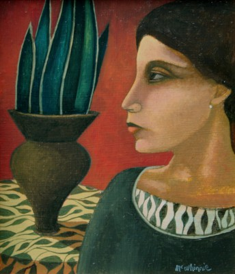 Scottish Artist Ian McWHINNIE - Portrait with Vase