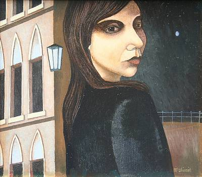 Scottish Artist Ian McWHINNIE - Portrait with Moon