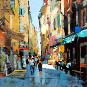 Scottish Artist Jack MORROCCO - Narrow Street, Old Town Nice