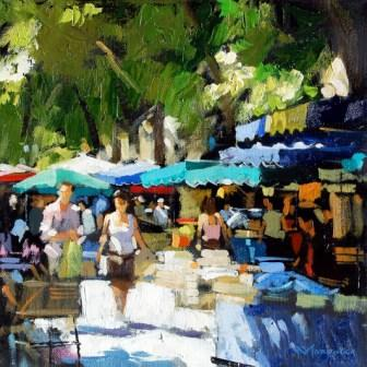 Scottish Artist Jack MORROCCO - Market Day, Aix