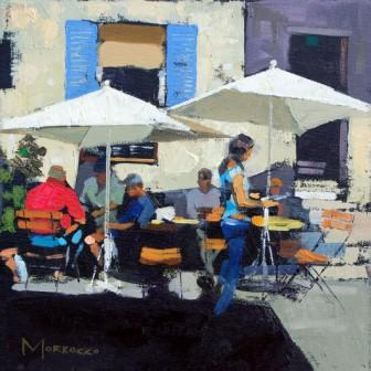 Scottish Artist Jack MORROCCO - Shaded Café, Gourdon