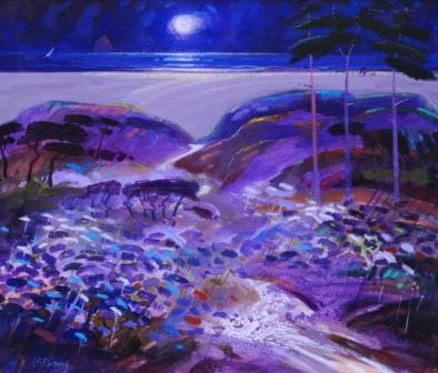 Scottish Artist James DAVIS - Moonlit Bay