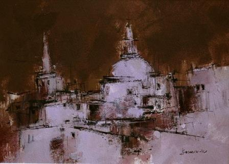 Scottish Artist James SOMERVILLE - Skyline Valletta
