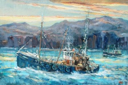 Scottish Artist James WATT - Homeward Passing Rhum