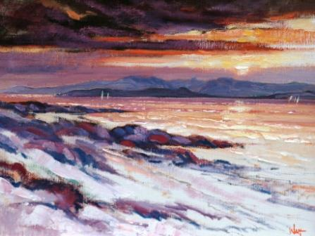 Scottish Artist James WATT - Sunset to Arran