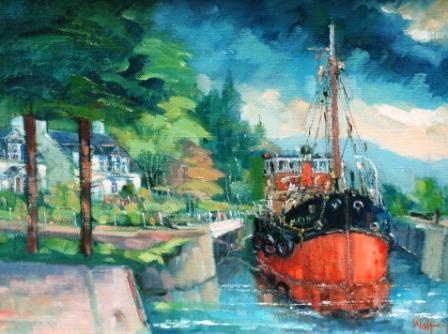 Scottish Artist James WATT - Puffer, Crinan Canal