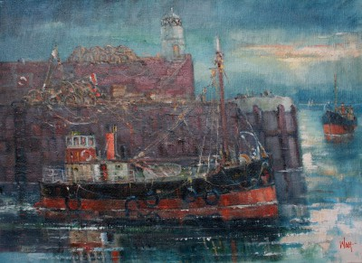 Scottish Artist James WATT - Passing Troon Light