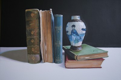 Scottish Artist Jane CRUICKSHANK - Still Life with Books and Chinese Pot
