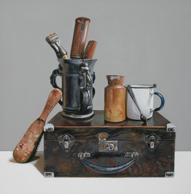 Scottish Artist Jane CRUICKSHANK - Still life With Old Wooden Box and Tools