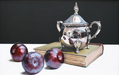 Scottish Artist Jane CRUICKSHANK - Still Life with Plums and Silver