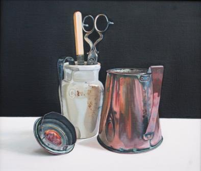 Scottish Artist Jane CRUICKSHANK - Copper Pot and Stoneware Jar