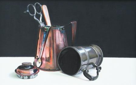 Scottish Artist Jane CRUICKSHANK - Copper Pot and Pewter Mug